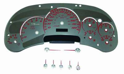 US Speedo - US Speedo Stainless Steel Gauge Face with Red Back and Color Match Needles - Displays 120 MPH - Transmission Temperature - SS GM 02R
