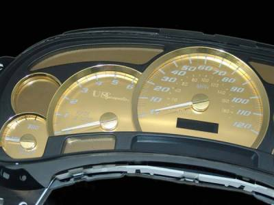US Speedo - US Speedo Platinum Gold Gauge Face with White Back with Color Match Needles - Displays 120 MPH - Transmission Temperature - SS GM 07G