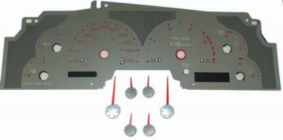 US Speedo - US Speedo Stainless Steel Gauge Face with Red Back and Color Match Needles - Displays - SS F 08R