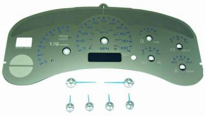 US Speedo - US Speedo Stainless Steel Gauge Face with Blue Back and Color Match Needles - Displays 100 MPH - No Transmission - SS GM 99B