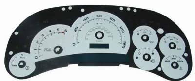 US Speedo - US Speedo White Platinum Exotic Color Gauge Face - Displays 120 MPH - Gas - Transmission Temperature - CK1200540
