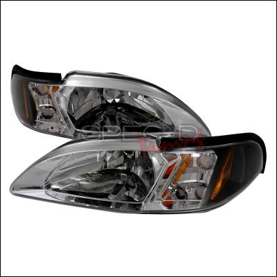 Spec-D - Ford Mustang Spec-D Crystal Housing Headlights - Black - 2LCLH-MST94JM-TM