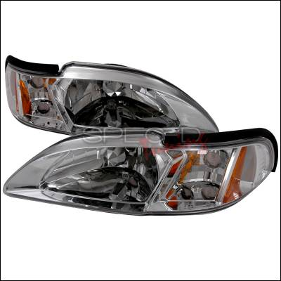 Spec-D - Ford Mustang Spec-D Crystal Housing Headlights - Chrome - 2LCLH-MST94-TM