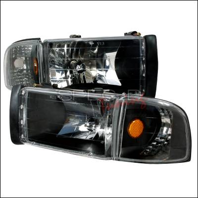 Spec-D - Dodge Ram Spec-D Crystal Housing Headlights - Black - 2LCLH-RAM94JM-KS