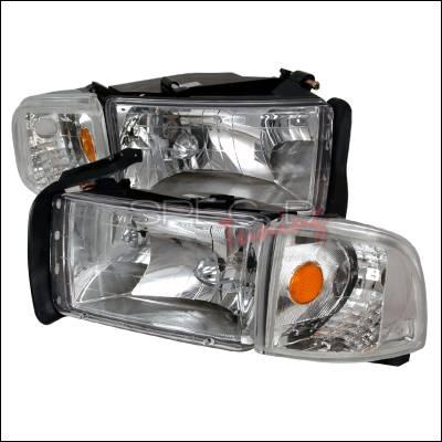 Spec-D - Dodge Ram Spec-D Crystal Housing Headlights - Chrome - 2LCLH-RAM94-KS