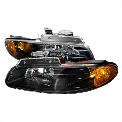 Spec-D - Dodge Caravan Spec-D Crystal Housing Headlights - Black - 2LH-CAR96JM-KS