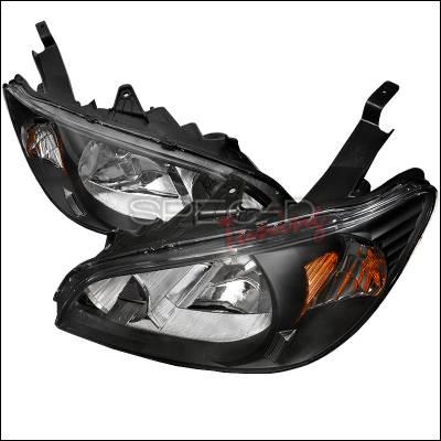 Spec-D - Honda Civic Spec-D Crystal Housing Headlights - Black - 2LH-CV04JM-RS