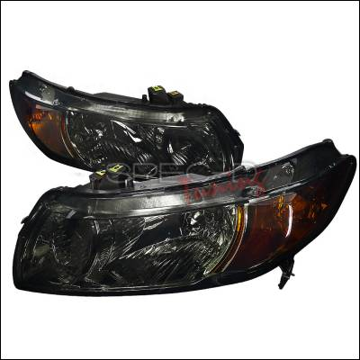 Spec-D - Honda Civic Spec-D Euro Headlights - Smoke Lens - 2LH-CV062G-RS
