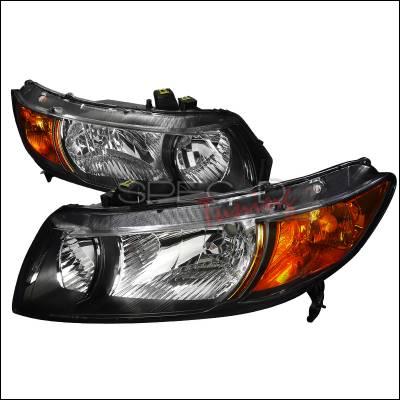 Spec-D - Honda Civic Spec-D Euro Headlights - Black Housing - 2LH-CV062JM-RS