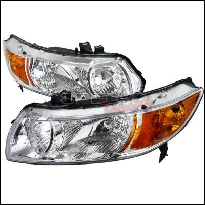 Spec-D - Honda Civic Spec-D Euro Headlights - Chrome Housing - 2LH-CV062-RS