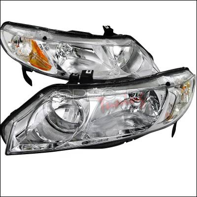 Spec-D - Honda Civic Spec-D Euro Headlights - Chrome Housing - 2LH-CV064-RS