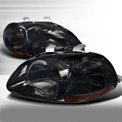 Spec-D - Honda Civic Spec-D Crystal Housing Headlights - Smoke - 2LH-CV96G-RS