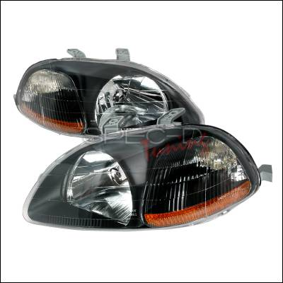 Spec-D - Honda Civic Spec-D Crystal Housing Headlights - Black - 2LH-CV96JM-KS