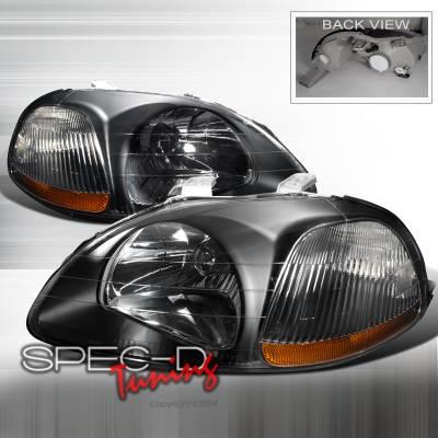 Spec-D - Honda Civic Spec-D Crystal Housing Headlights - Black - 2LH-CV96JM-RS