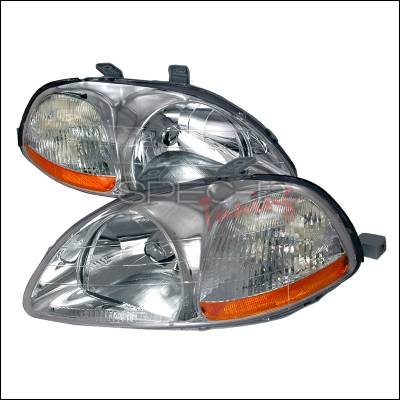 Spec-D - Honda Civic Spec-D Crystal Housing Headlights - Chrome - 2LH-CV96-KS