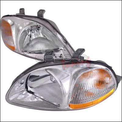 Spec-D - Honda Civic Spec-D Crystal Housing Headlights - Chrome - 2LH-CV96-RS