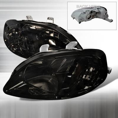 Spec-D - Honda Civic Spec-D Crystal Housing Headlights - Smoke - 2LH-CV99G-RS