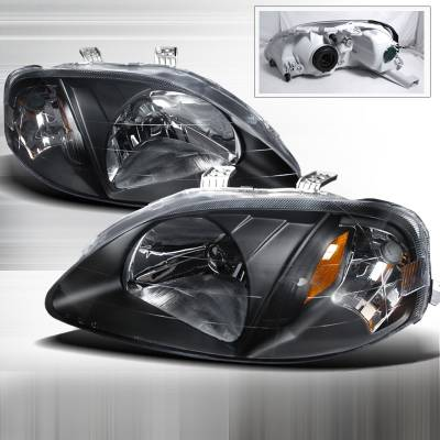 Spec-D - Honda Civic Spec-D Crystal Housing Headlights - Black - 2LH-CV99JM-DP