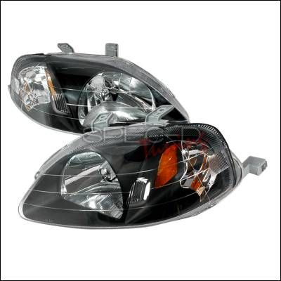 Spec-D - Honda Civic Spec-D Crystal Housing Headlights - Black - 2LH-CV99JM-KS