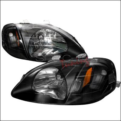 Spec-D - Honda Civic Spec-D Crystal Housing Headlights - Black - 2LH-CV99JM-RS