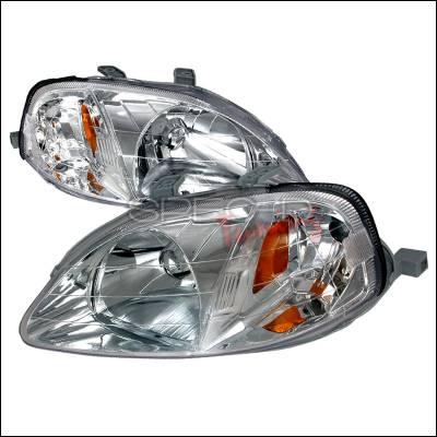 Spec-D - Honda Civic Spec-D Crystal Housing Headlights - Chrome - 2LH-CV99-KS