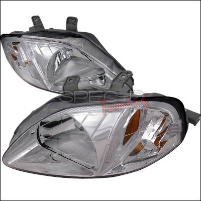 Spec-D - Honda Civic Spec-D Crystal Housing Headlights - Chrome - 2LH-CV99-RS