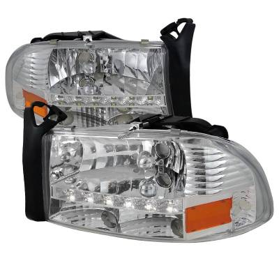 Spec-D - Dodge Dakota Spec-D Chrome Headlight with LED - 2LH-DAK97-RS