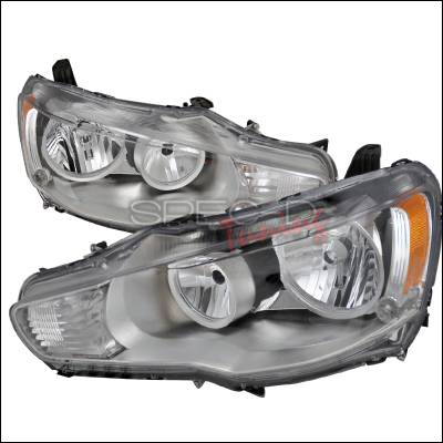 Spec-D - Mitsubishi Lancer Spec-D Crystal Housing Headlights - Chrome - 2LH-EVO08-DP