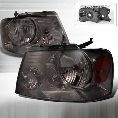 Spec-D - Ford F150 Spec-D Crystal Housing Headlights - Smoke - 2LH-F15004G-RS
