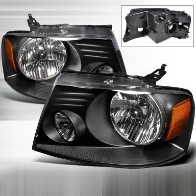 Spec-D - Ford F150 Spec-D Crystal Housing Headlights - Black - 2LH-F15004JM-RS