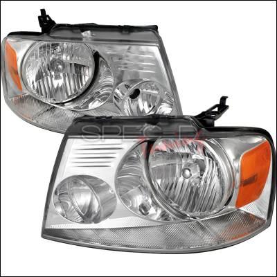 Spec-D - Ford F150 Spec-D Crystal Housing Headlights - Chrome - 2LH-F15004-RS
