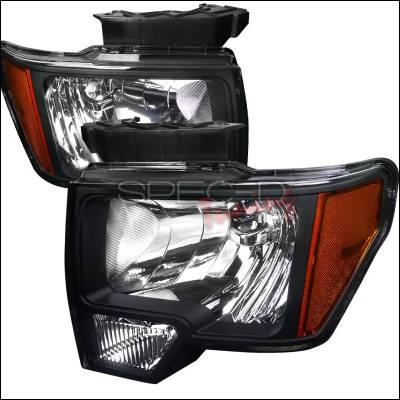 Spec-D - Ford F150 Spec-D Euro Headlight with Black Housing - 2LH-F15009JM-RS
