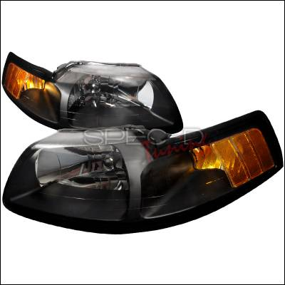 Spec-D - Ford Mustang Spec-D Crystal Housing Headlights - Black - 2LH-MST99JM-RS