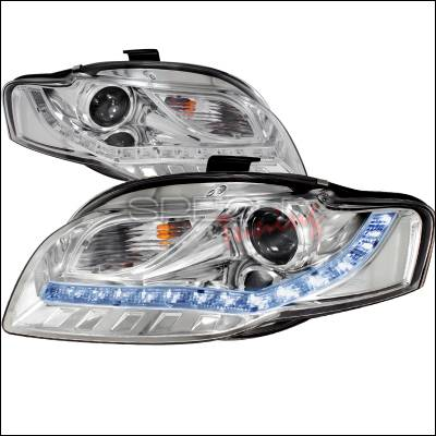 Spec-D - Audi A4 Spec-D R8 Style Projector Headlights - Chrome - 2LHP-A406-8-TM
