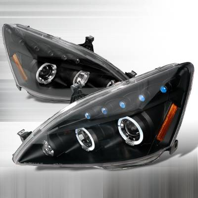 Spec-D - Honda Accord Spec-D Halo LED Projector Headlights - Black - 2LHP-ACD03JM-TM