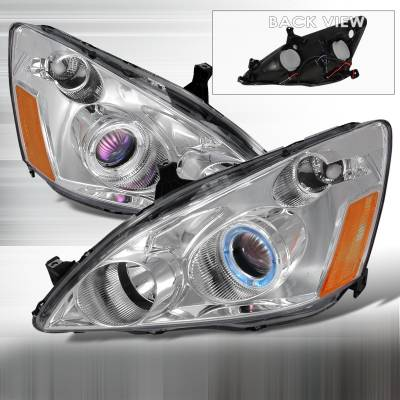 Spec-D - Honda Accord Spec-D Halo Projector Headlights - Chrome - 2LHP-ACD03-KS