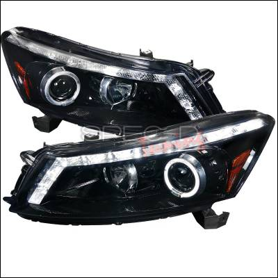 Spec-D - Honda Accord 4DR Spec-D Gloss Black Housing Projector Headlights - Smoked Lens - 2LHP-ACD084G-TM