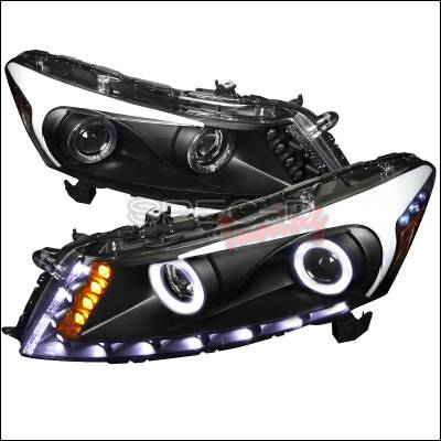 Spec-D - Honda Accord Spec-D Halo LED Projector Headlights - Black Housing - 2LHP-ACD084JM-RS