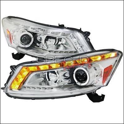 Spec-D - Honda Accord 4DR Spec-D Projector Headlights - Chrome Housing - 2LHP-ACD084-TM