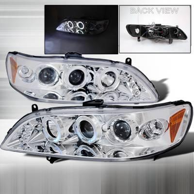 Spec-D - Honda Accord Spec-D Halo LED Projector Headlights - Chrome - 2LHP-ACD98-TM