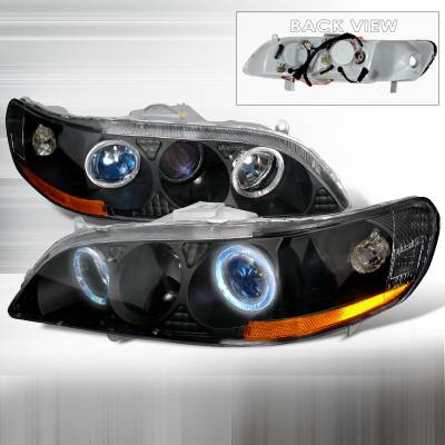 Spec-D - Honda Accord Spec-D Halo Projector Headlights - Black - 2LHP-ACD98V1JM-KS