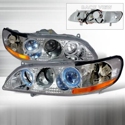 Spec-D - Honda Accord Spec-D Halo Projector Headlights - Chrome - 2LHP-ACD98V1-KS