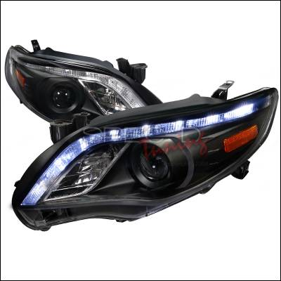 Spec-D - Toyota Corolla Spec-D Projector Headlights - Black Housing - 2LHP-COR11JM-TM