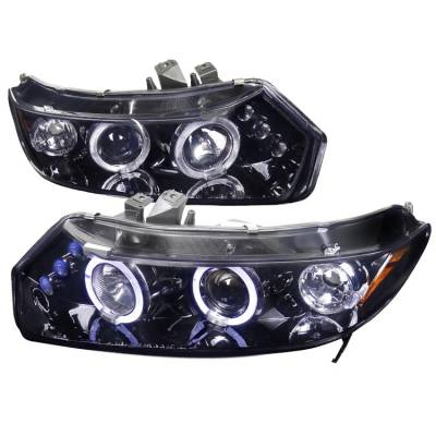 Spec-D - Honda Civic Spec-D Black Housing Projector Headlights - Smoked Lens Gloss - 2LHP-CV01G-TM