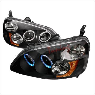 Spec-D - Honda Civic Spec-D Halo Projector Headlights - Black - 2LHP-CV01JM-KS