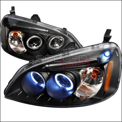Spec-D - Honda Civic Spec-D Halo LED Projector Headlights - Black - 2LHP-CV01JM-TM