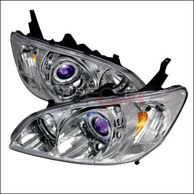 Spec-D - Honda Civic Spec-D Halo Projector Headlights - Chrome - 2LHP-CV04B-KS