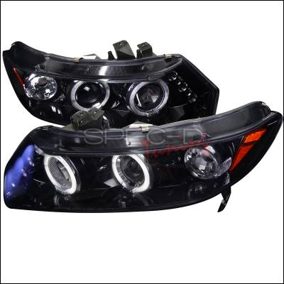 Spec-D - Honda Civic Spec-D Black Housing Projector Headlights - Smoked Lens Gloss - 2LHP-CV062G-TM