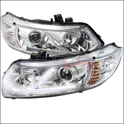 Spec-D - Honda Civic Spec-D LED Projector Headlights - Chrome Housing - 2LHP-CV062-RS