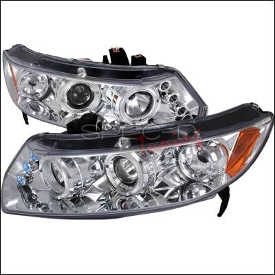 Spec-D - Honda Civic Spec-D Halo LED Projector - Chrome - 2LHP-CV062-TM